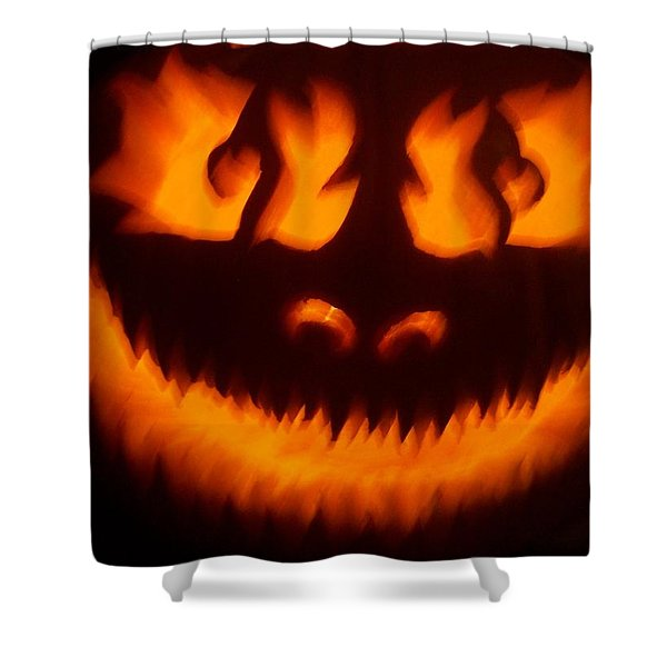 Flame Pumpkin Shower Curtain