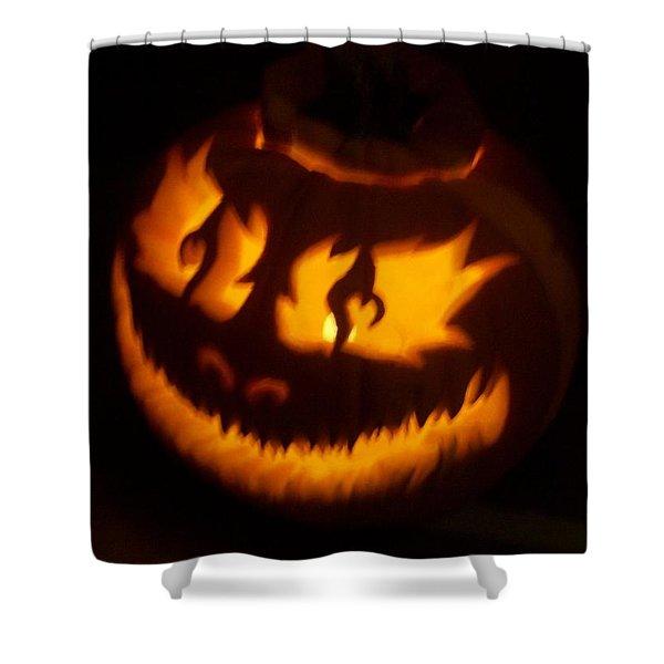 Flame Pumpkin Side Shower Curtain