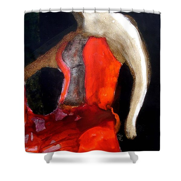 Shower Curtain featuring the painting Flamenco Caliente by Keith Thue