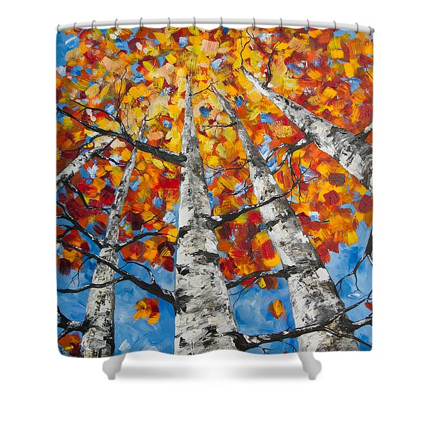 Flaming Aspens Shower Curtain