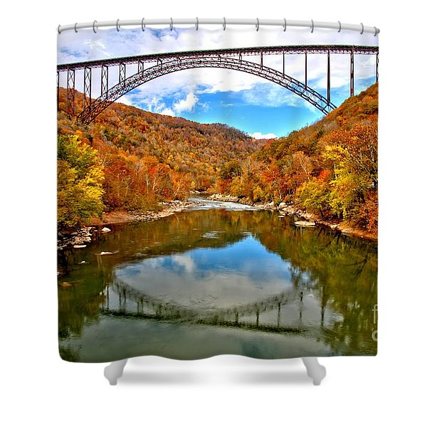 Flaming Fall Foliage At New River Gorge Shower Curtain