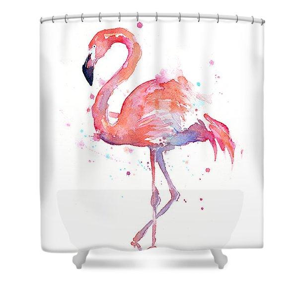 Flamingo Shower Curtain Watercolor Art Trees Print for Bathroom