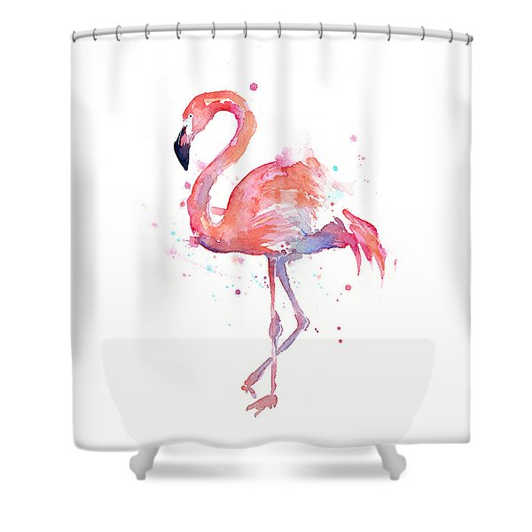 Flamingo Watercolor Shower Curtain
