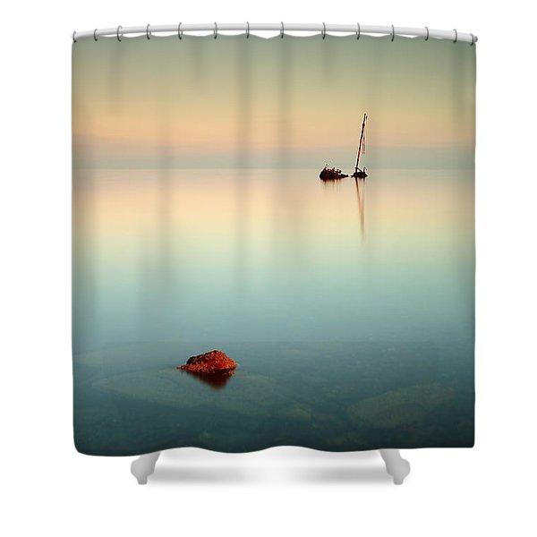 Flat Calm Shipwreck Sunrise Shower Curtain