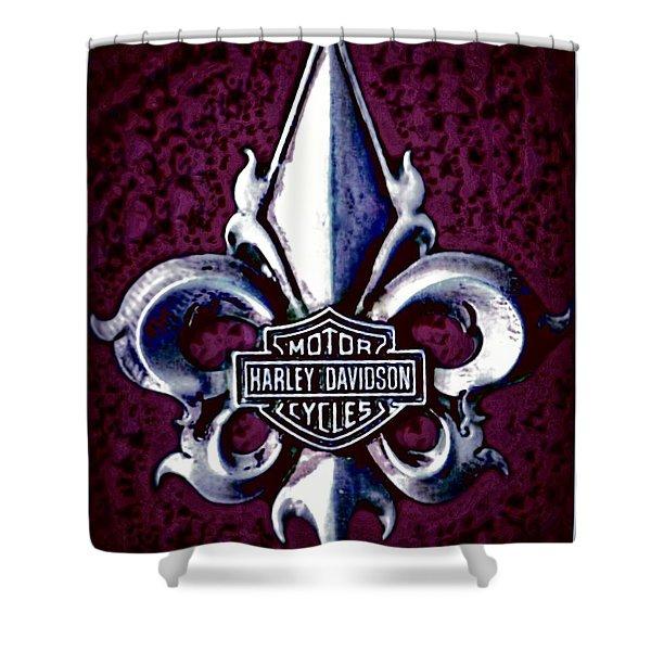 Fleurs De Lys With Harley Davidson Logo Shower Curtain