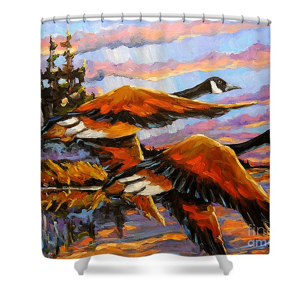 Flight Navigations Geese In  Motion Shower Curtain