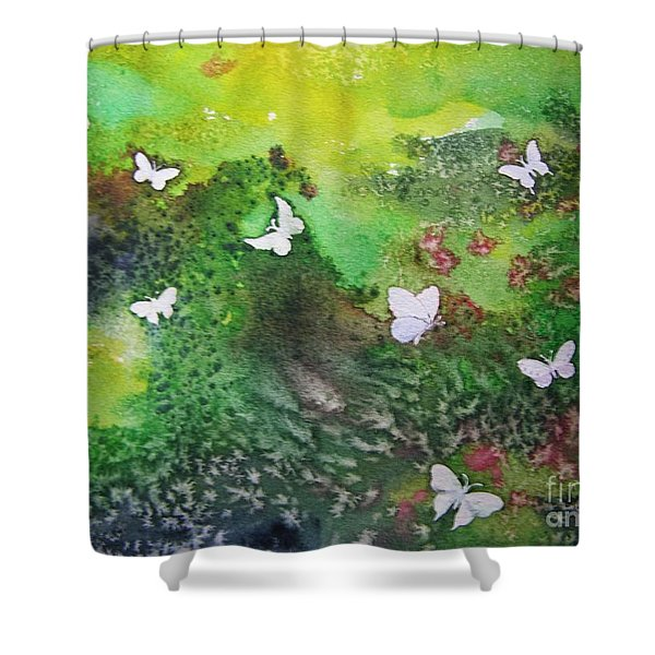 Flight Of White Shower Curtain