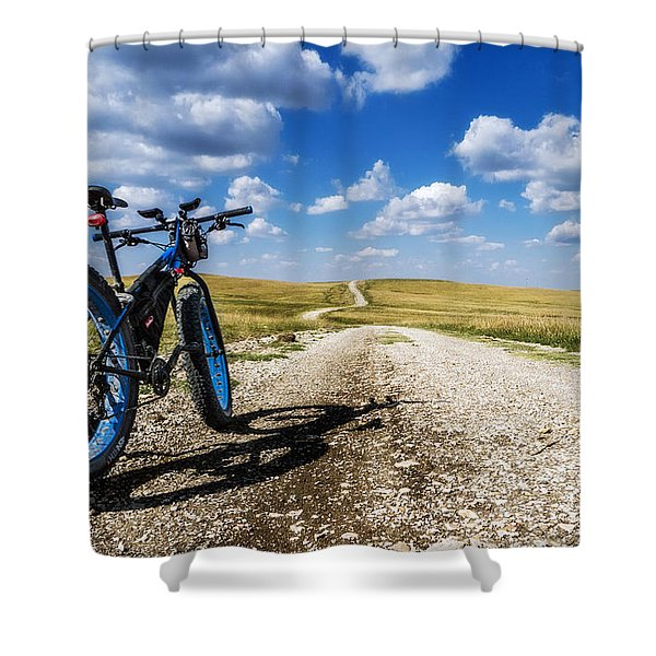 Flint Hills Fall Fatbike Ride Shower Curtain