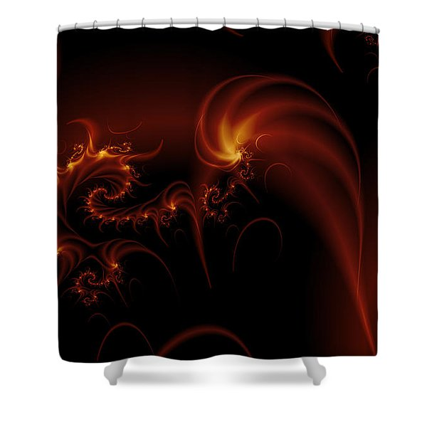 Floating Fire Fractal Shower Curtain