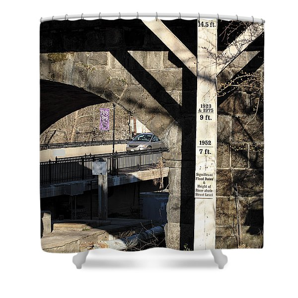 Flood Height Sign At Ellicott City Maryland Shower Curtain
