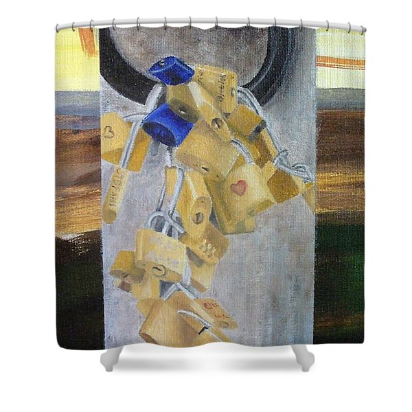Shower Curtain featuring the painting Florence Locks by Karin Thue
