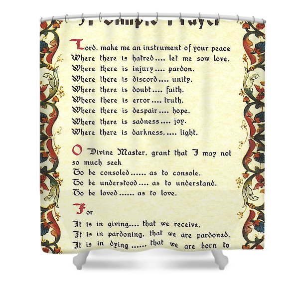 Florentine Simple Prayer For Peace By Saint Francis Of Assisi Shower Curtain