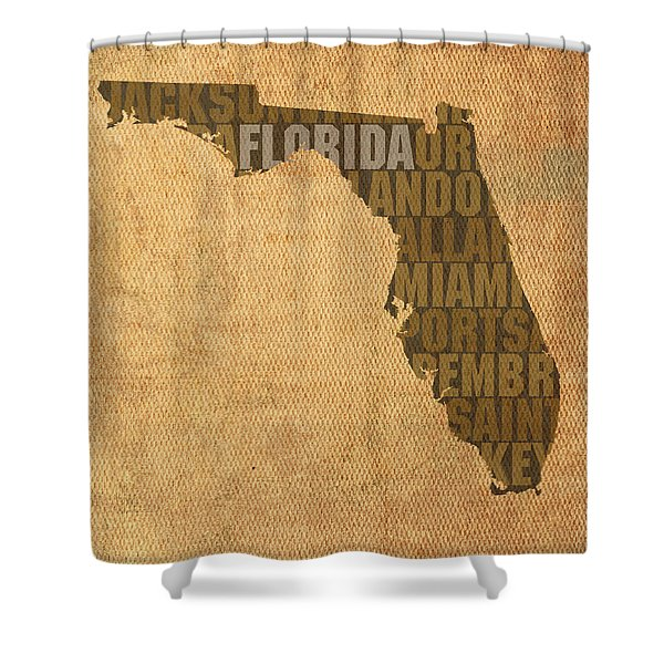 Florida Word Art State Map On Canvas Shower Curtain
