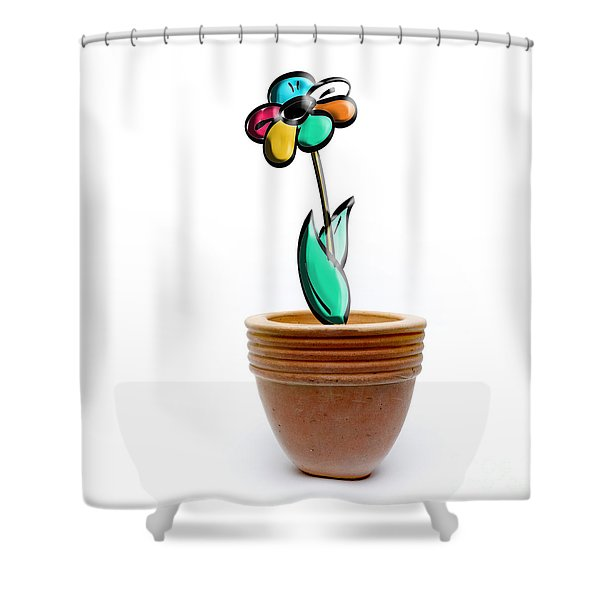 Flower In A Pot. Concept Shower Curtain