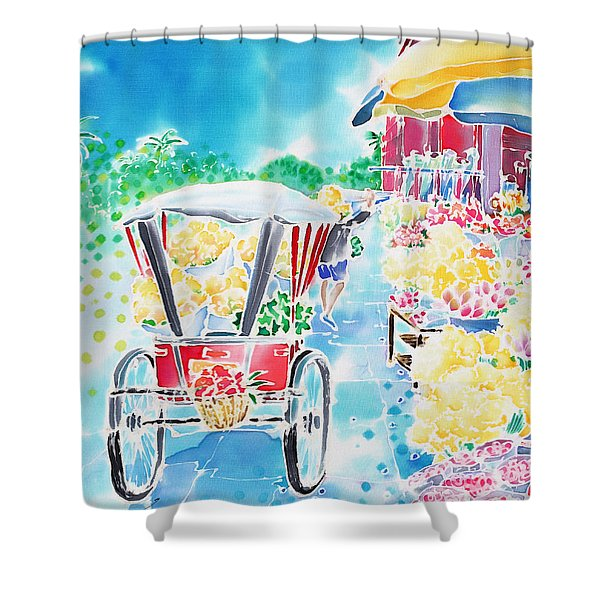 Flower Market  In Chiang Mai Shower Curtain