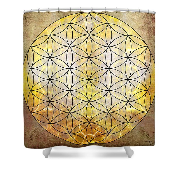 Flower Of Life Gold Shower Curtain