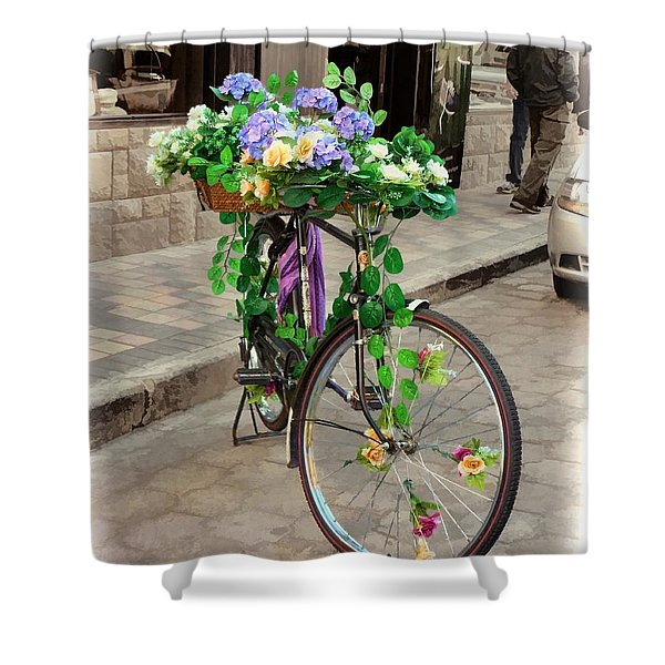 Flower Power Meets Pedal Power  Shower Curtain