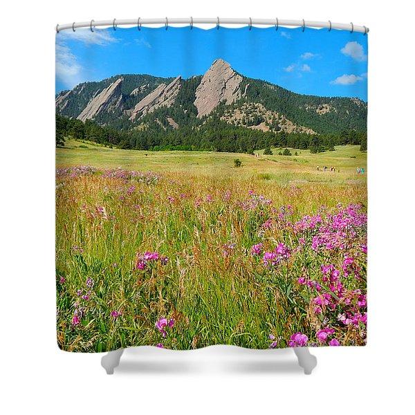 The Flatirons Colorado Shower Curtain