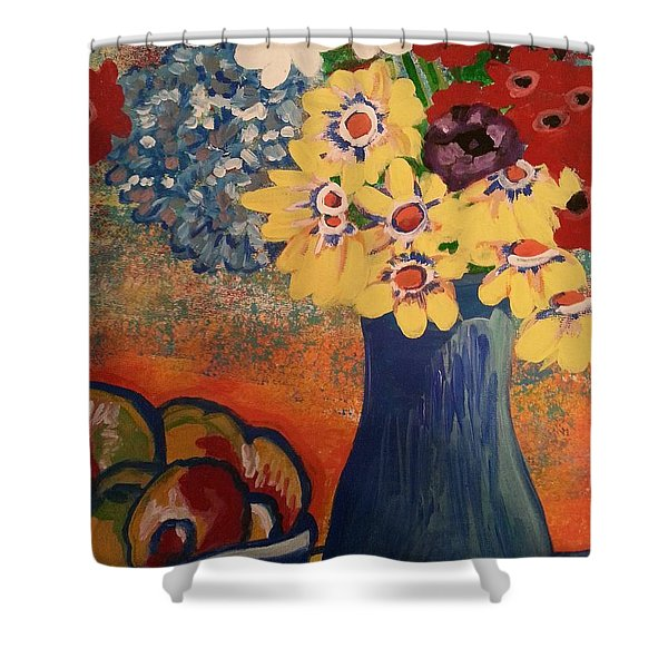 Flowers And Oranges Shower Curtain