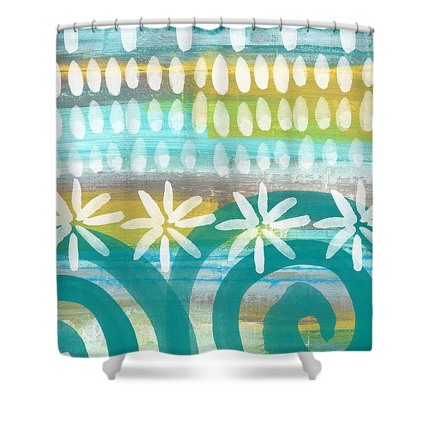 Flowers And Waves- Abstract Pattern Painting Shower Curtain