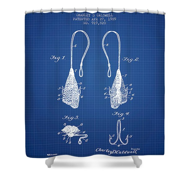 Fly Fish Hook Patent From 1909- Blueprint Shower Curtain