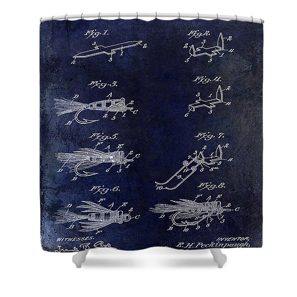 1922 Fly Fishing Lure Blue Shower Curtain