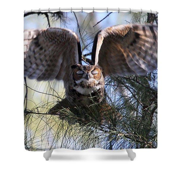 Flying Blind - Great Horned Owl Shower Curtain