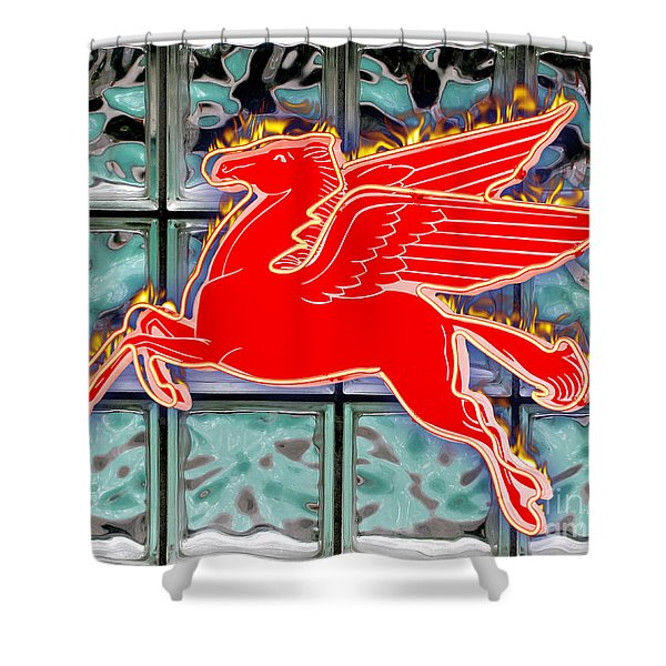 Flying Fire Horse Shower Curtain