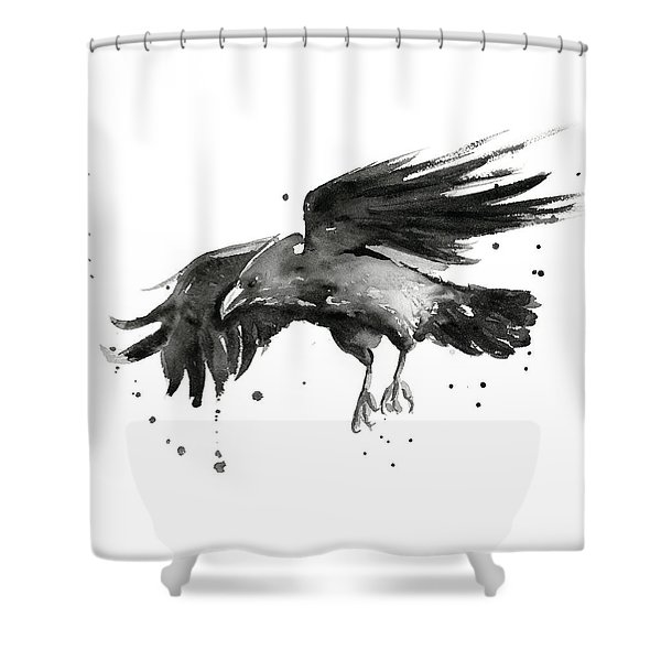 Flying Raven Watercolor Shower Curtain