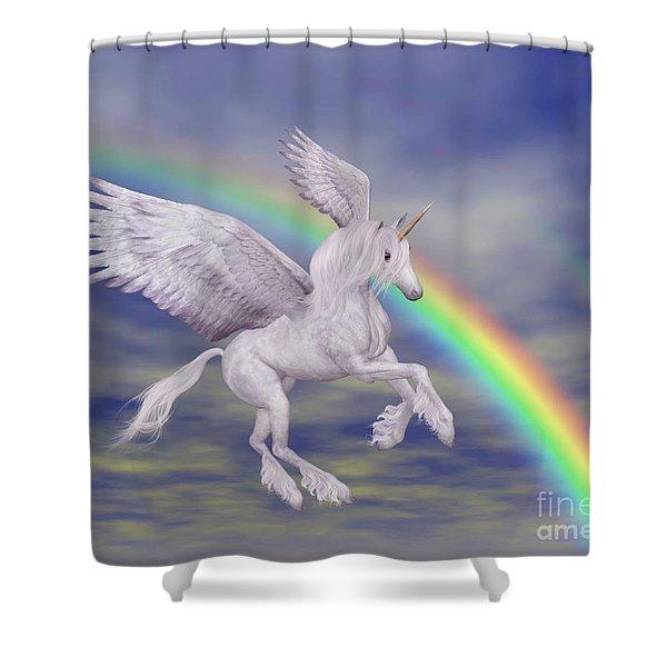 Flying Unicorn And Rainbow Shower Curtain