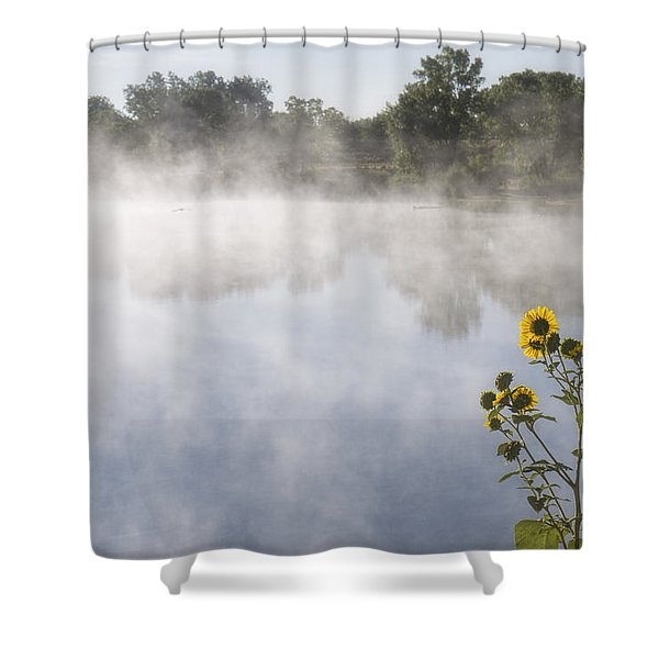 Shower Curtain featuring the photograph Fog And Sunflowers by Rob Graham