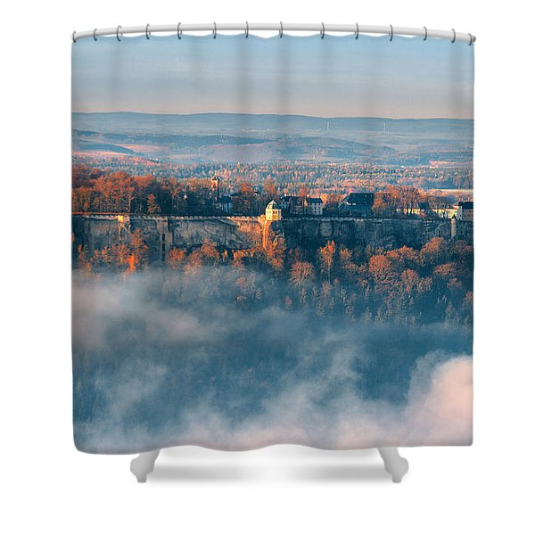 Fog Around The Fortress Koenigstein Shower Curtain