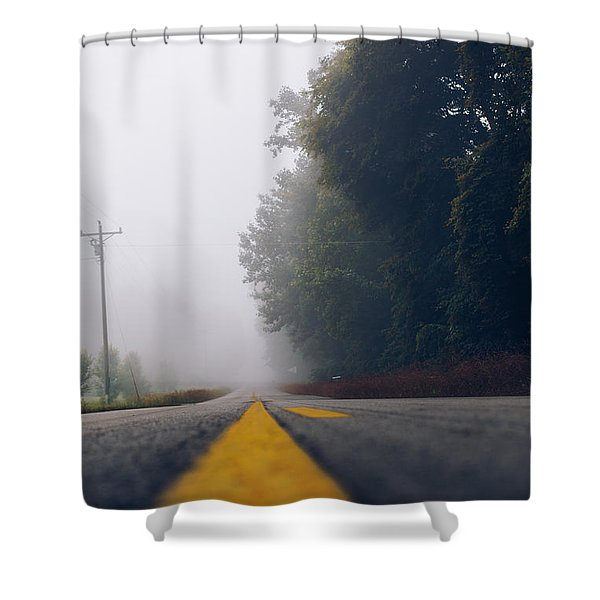 Fog On Highway Shower Curtain