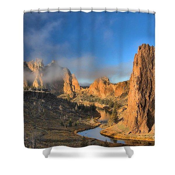 Fog Over Smith Rock Shower Curtain