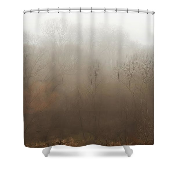 Fog Riverside Park Shower Curtain
