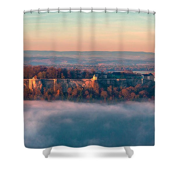 Fog Surrounding The Fortress Koenigstein Shower Curtain