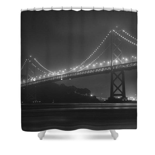 Foggy Bay Bridge Shower Curtain