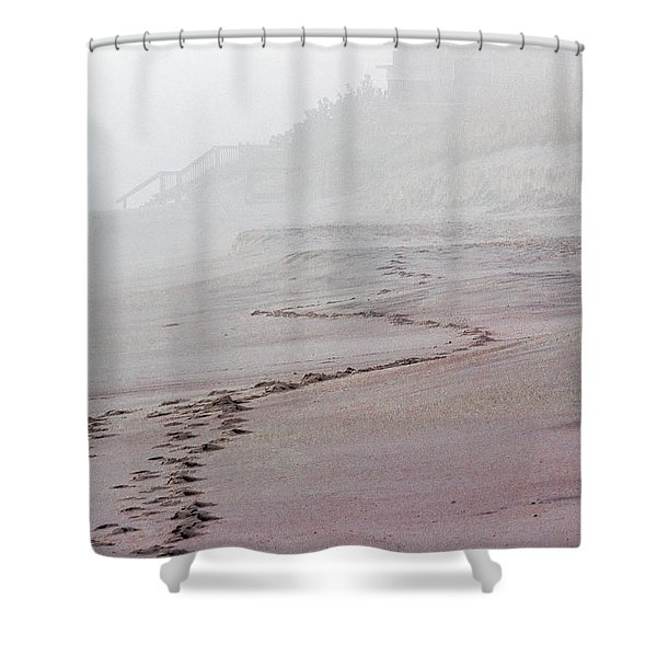 Foggy Beach At Dawn Shower Curtain