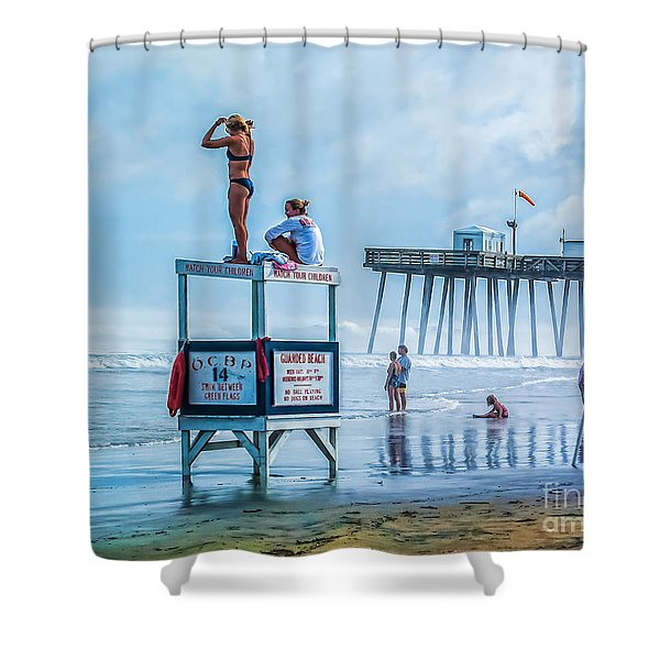 Foggy Beach View Shower Curtain