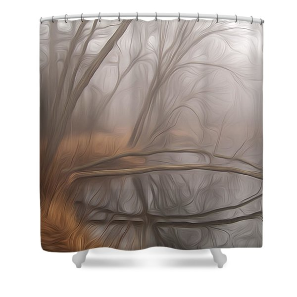 Foggy Fall Morning Shower Curtain