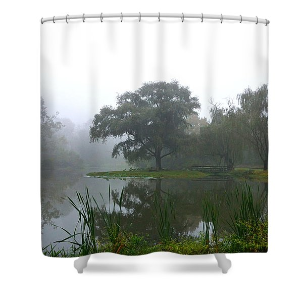 Foggy Morning At The Willows Shower Curtain