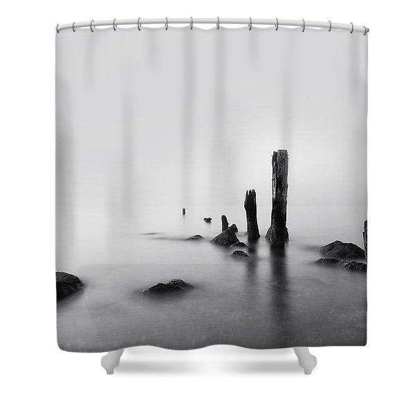 Foggy New England Sea Shower Curtain