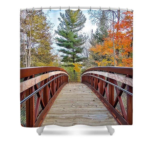 Foot Bridge In Fall Shower Curtain