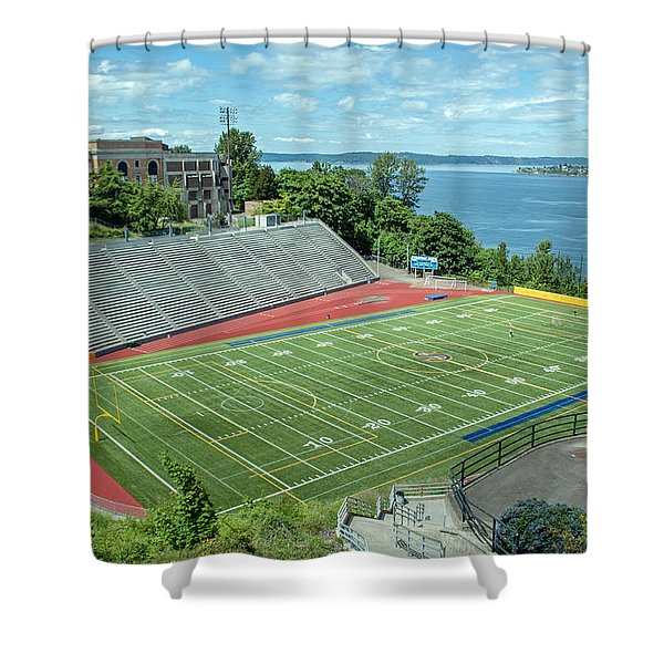 Football Field By The Bay Shower Curtain