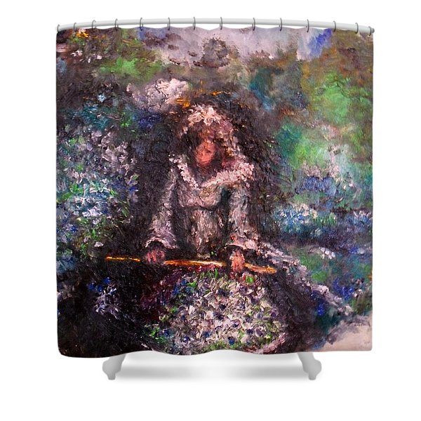 Shower Curtain featuring the painting For Grandma by Laurie Lundquist