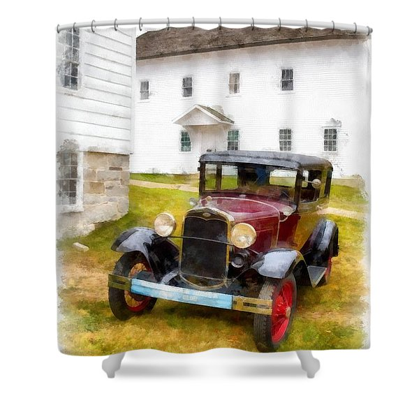Ford Model A Watercolor Shower Curtain