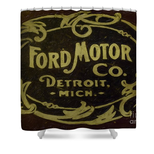 Shower Curtain featuring the painting Ford Motor Company by David Millenheft