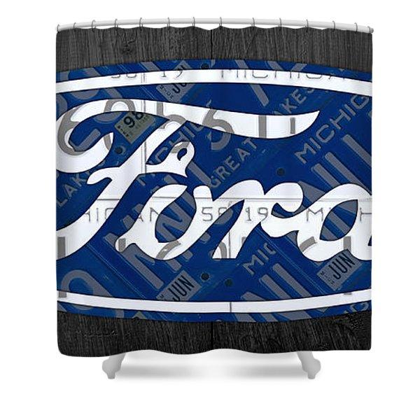 Ford Motor Company Retro Logo License Plate Art Shower Curtain
