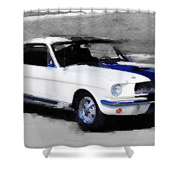 Ford Mustang Shelby Watercolor Shower Curtain