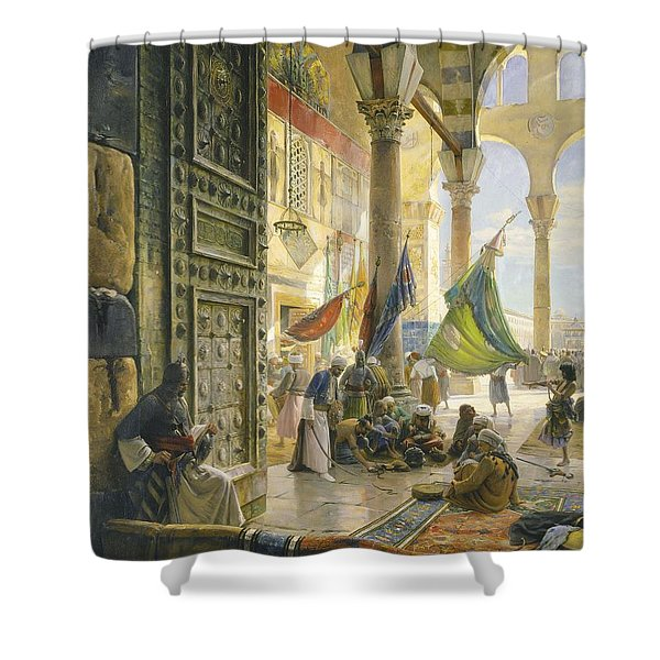 Forecourt Of The Ummayad Mosque, Damascus, 1890 Oil On Panel Shower Curtain